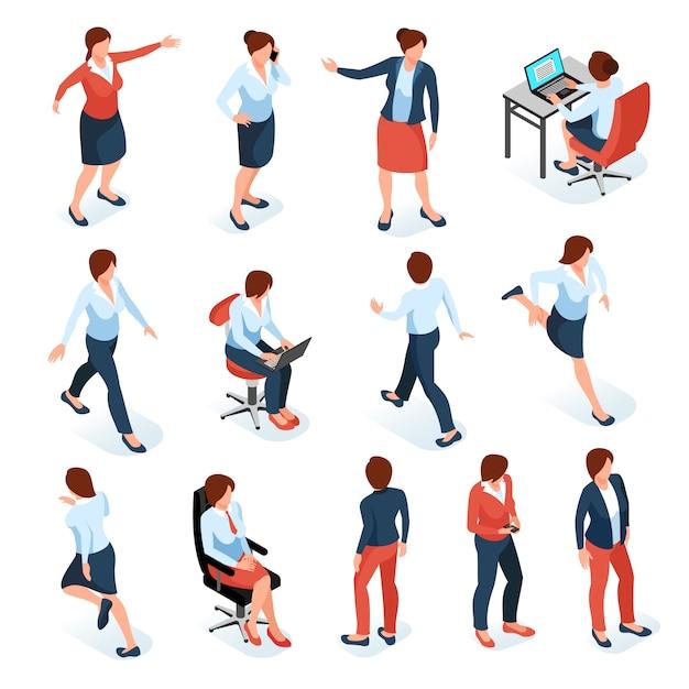 Insieme colorato isometrico delle donne di affari dei personaggi femminili nelle pose differenti sul posto di lavoro isolato su fondo bianco Vettore gratuito