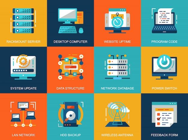 Insieme concettuale di concetti di icone di tecnologia di rete piana Vettore Premium