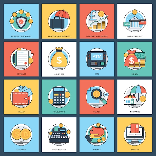 Insieme creativo dell'icona di finanza e di attività bancarie Vettore Premium