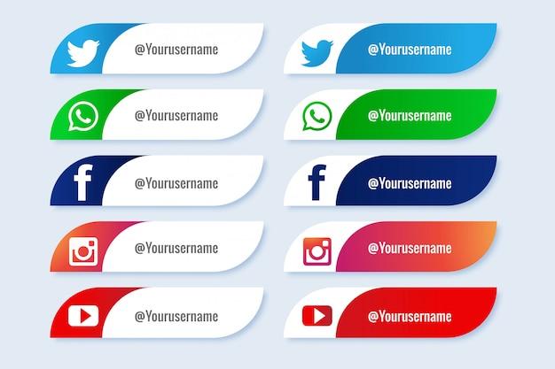 Insieme creativo popolare di terza icona inferiore di media sociali Vettore gratuito