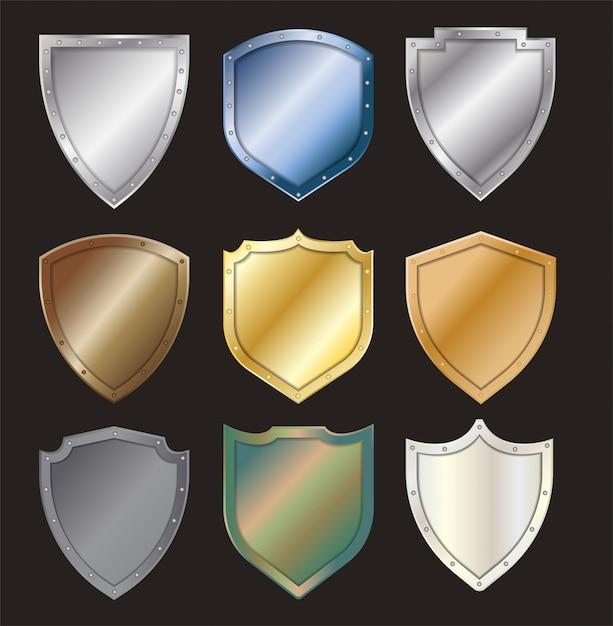 Insieme d'acciaio del segno dell'icona dello schermo d'acciaio protetto vettore Vettore Premium