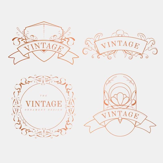 Insieme d'annata lussuoso di vettore del distintivo di art nouveau Vettore gratuito