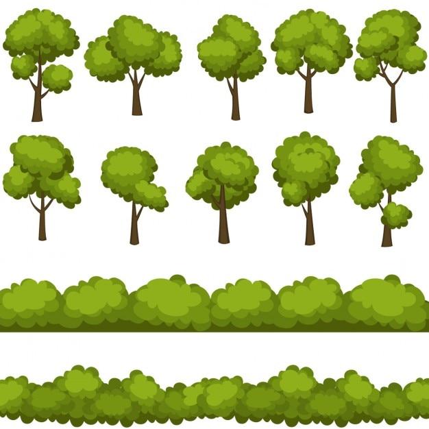 Insieme degli alberi dei cartoni animati divertenti e cespugli verdi Vettore gratuito