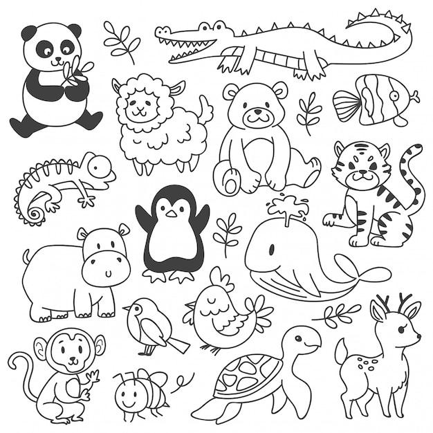 Insieme degli animali doodle isolato su bianco Vettore Premium