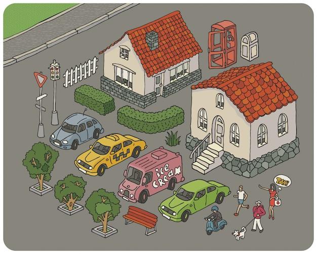 Insieme degli elementi di un'illustrazione della città del fumetto Vettore Premium