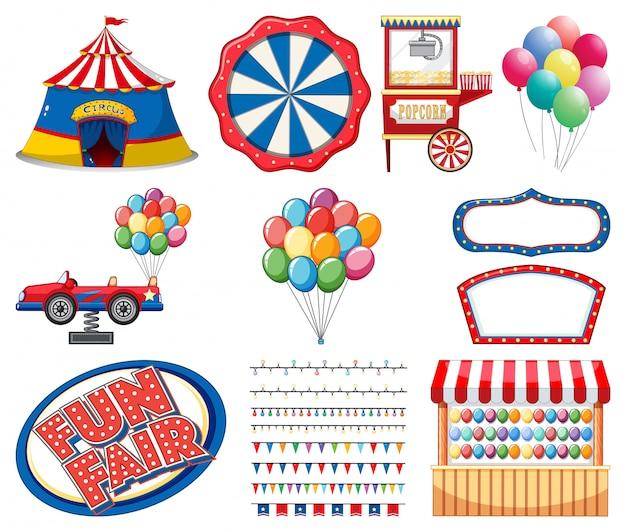Insieme degli oggetti del circo su fondo bianco Vettore gratuito