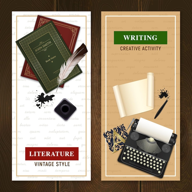 Insieme degli oggetti realistici della letteratura dell'annata delle bandiere verticali per attività di scrittura e lettura isolata Vettore gratuito