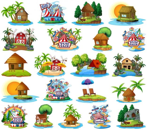 Insieme dei bangalows differenti e tema e parco di divertimenti della spiaggia dell'isola isolati Vettore gratuito