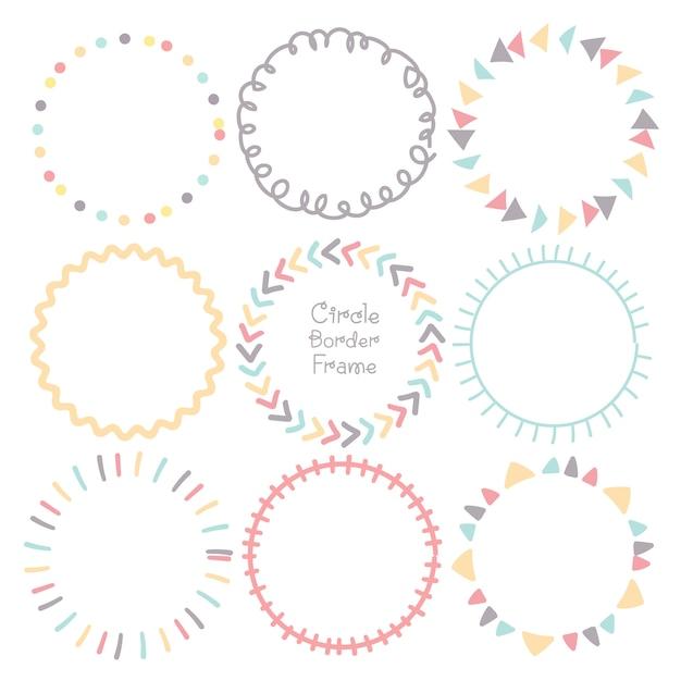 Insieme dei bordi di doodle colorato cerchio cornice. Vettore Premium