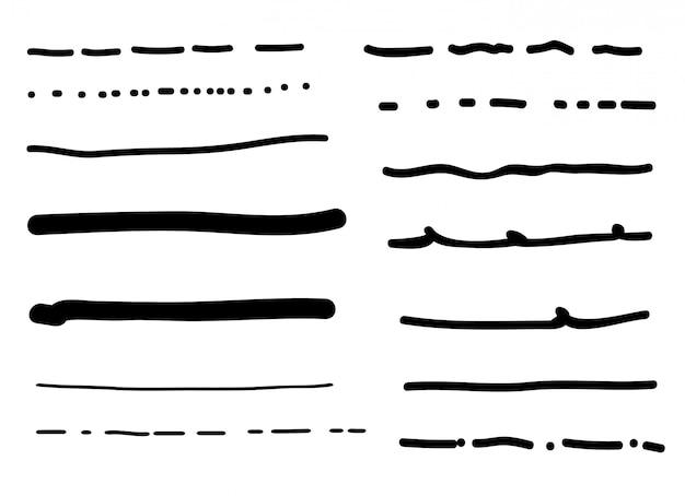 Insieme dei bordi di linea doodle disegnato a mano Vettore Premium