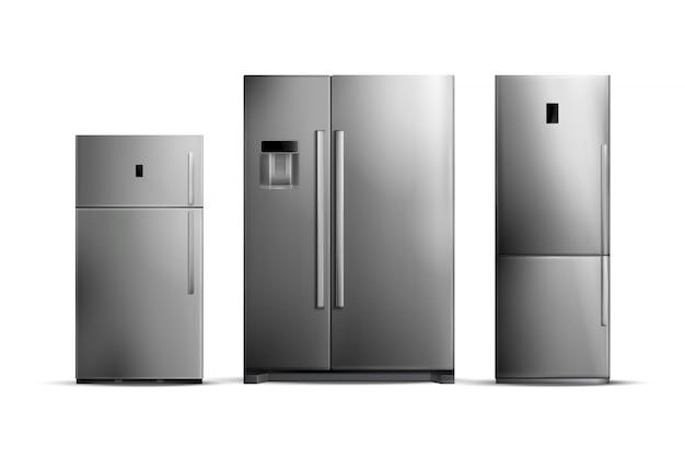 Insieme dei frigoriferi d'argento realistici di varie dimensioni isolati su bianco Vettore gratuito