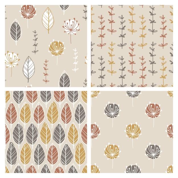 Insieme dei modelli senza cuciture minimalisti scandinavi con foglie ed erbe disegnate a mano. macchie astratte e semplici linee di doodle. tavolozza pastello. sfondo per la stampa su tessuto, tessuto, involucro Vettore Premium