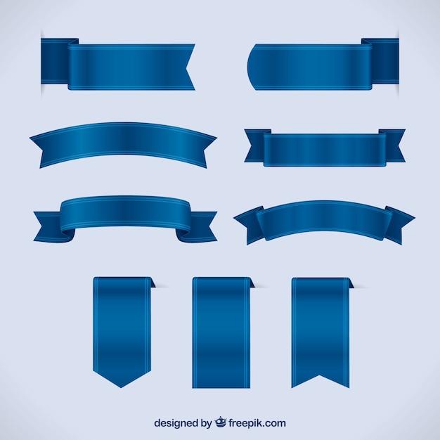 Insieme dei nastri blu in stile realistico Vettore gratuito
