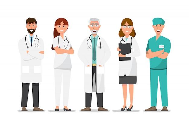 Insieme dei personaggi dei cartoni animati di medico, concetto del gruppo del personale medico in ospedale Vettore Premium