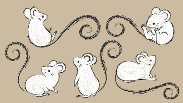 Insieme dei ratti disegnati a mano, topi in diverse pose, illustrazione di vettore del tratto di pennello inchiostro, stile doodley del fumetto. Vettore Premium