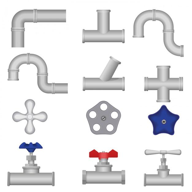 Insieme dei tubi dell'acqua dell'impianto idraulico della costruzione Vettore Premium