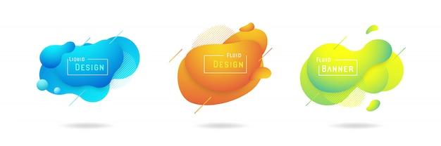 Insieme del disegno astratto di vettore liquido Vettore Premium