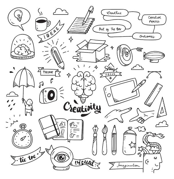Insieme del doodle di creatività isolato su priorità bassa bianca Vettore Premium