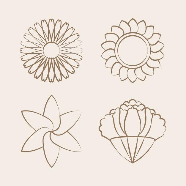 Insieme del fiore di fioritura disegno vettoriale di disegno Vettore gratuito