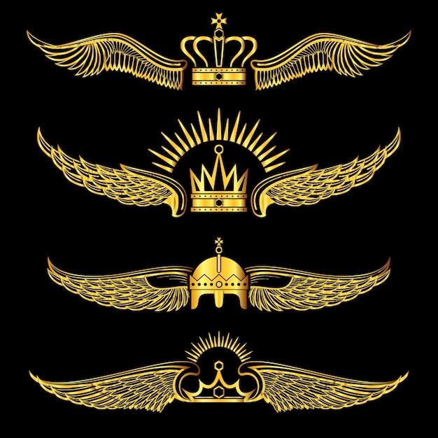 Insieme del fondo nero dei marchi alati dorati delle corone Vettore Premium