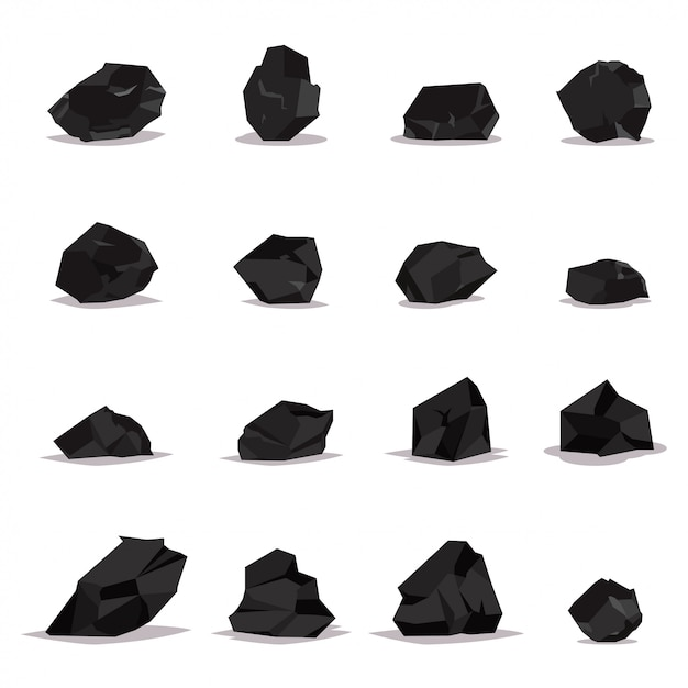 Insieme del fumetto del carbone isolato Vettore Premium