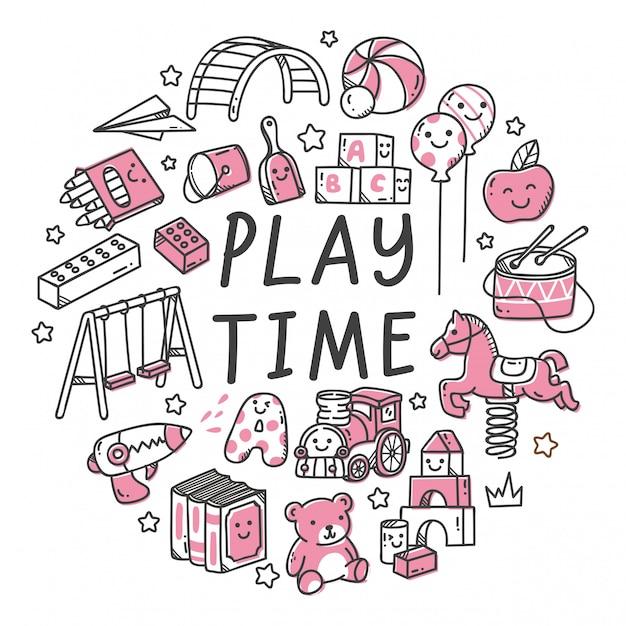 Insieme del giocattolo dei bambini nell'illustrazione di stile di scarabocchio di kawaii Vettore Premium