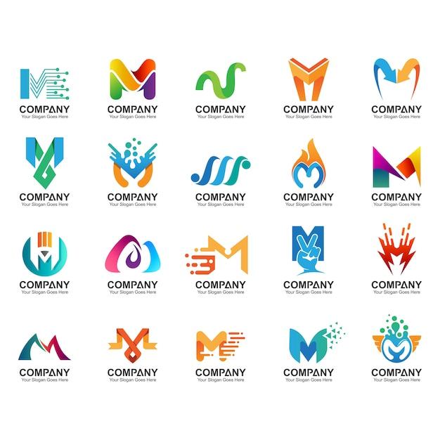 Insieme del logo della lettera m, icone di identità di affari, raccolta astratta del logo della lettera m. Vettore Premium