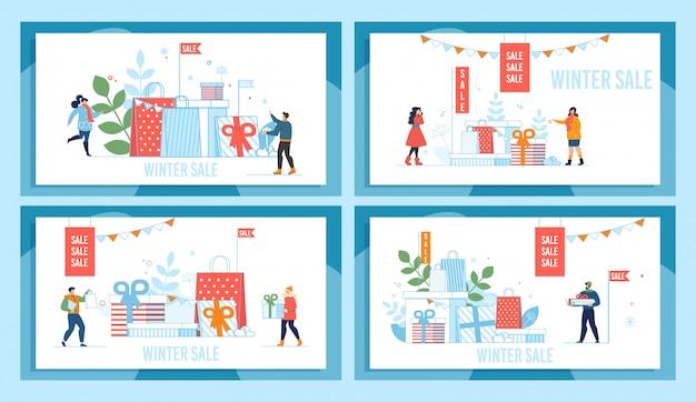 Insieme del manifesto di promozione del mercato di vendita di vacanze invernali Vettore Premium