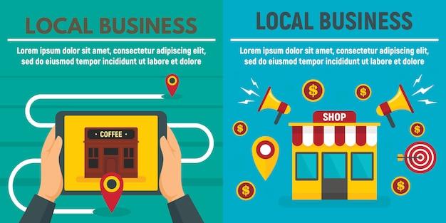 Insieme del modello dell'insegna del negozio di affari locali della città, illustrazione piana di stile Vettore Premium