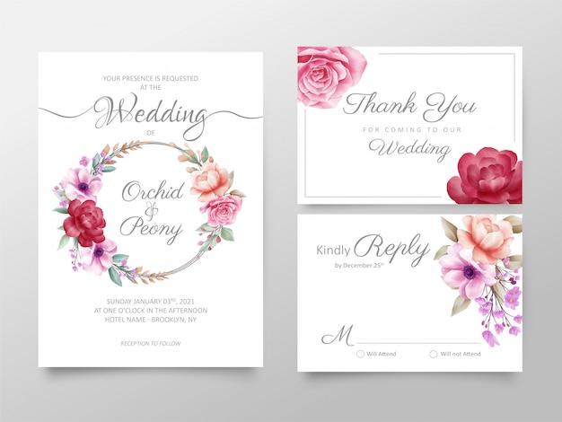 Insieme del modello delle carte dell'invito di nozze floreale dell'acquerello alla moda Vettore Premium