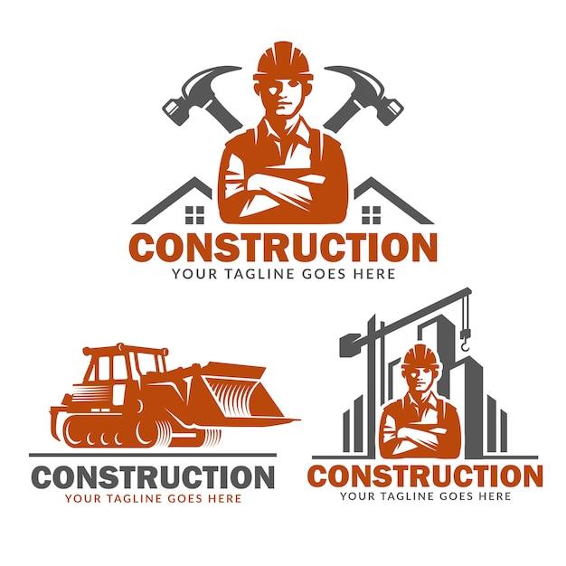 Insieme del modello di logo di costruzione, pacchetto di vettore del logo di costruzione Vettore Premium