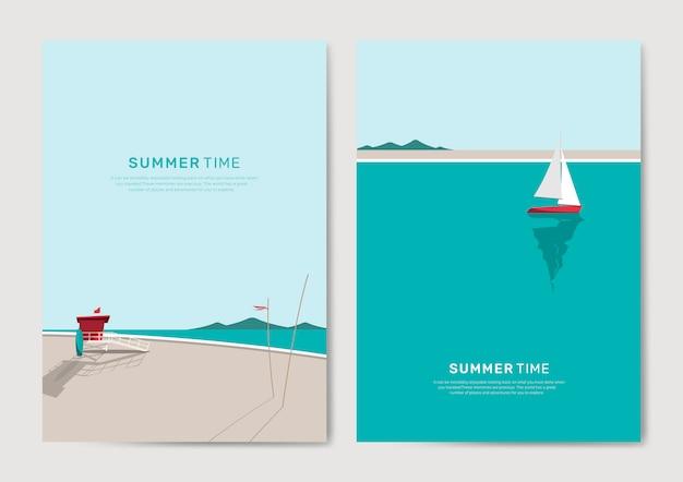 Insieme del modello di sfondo spiaggia estate Vettore gratuito