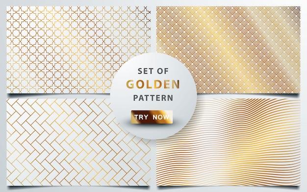 Insieme del modello senza cuciture oro geometrico Vettore Premium