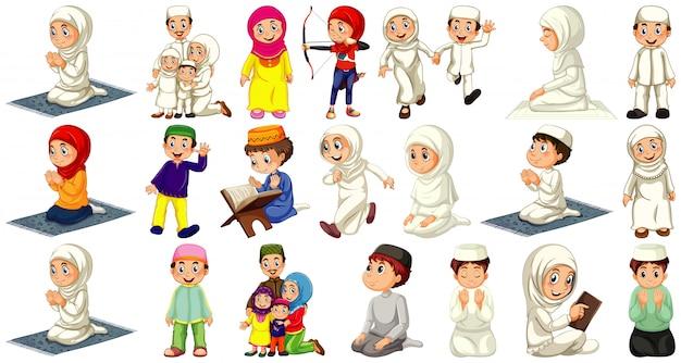 Insieme del personaggio dei cartoni animati musulmano differente della gente isolato su fondo bianco Vettore gratuito