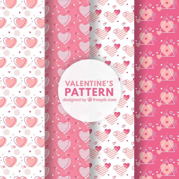 Insieme del reticolo di giorno di san valentino rosa Vettore gratuito