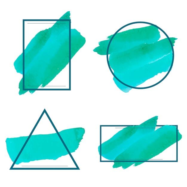 Insieme del vettore di disegno della bandiera dell'acquerello verde Vettore gratuito