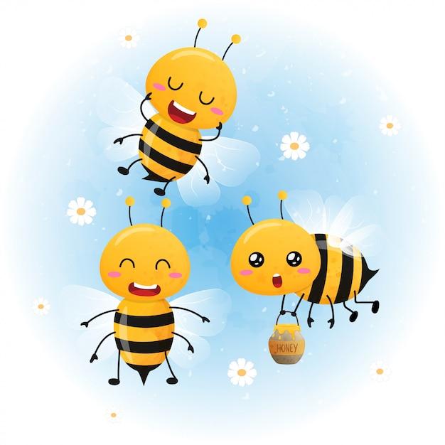 Insieme dell'acquerello ape bambino carino brillante Vettore Premium