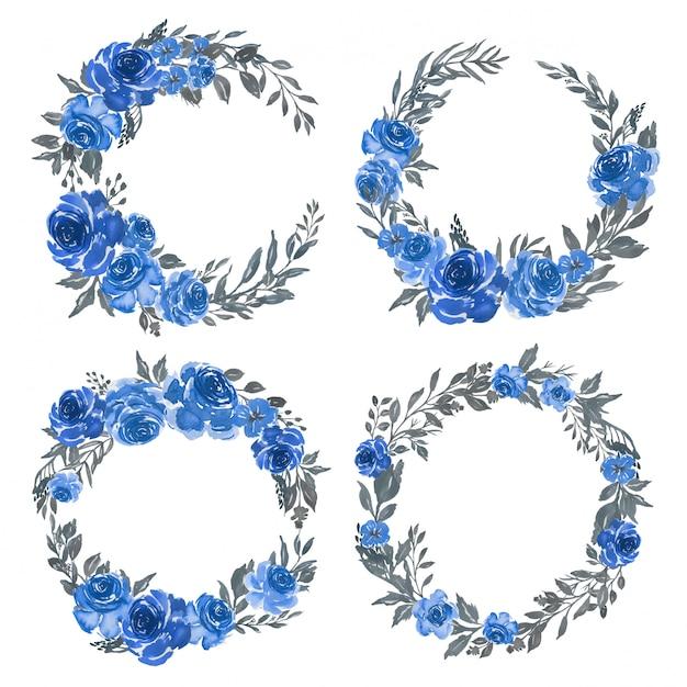 Insieme dell'acquerello di disposizione floreale cornice ghirlanda blu Vettore Premium