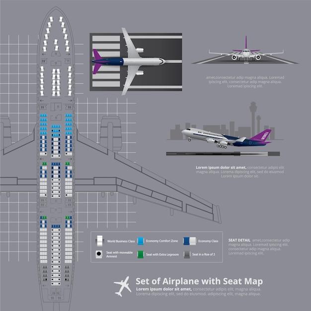 Insieme dell'aeroplano con la mappa del sedile isolata Vettore Premium