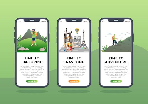 Insieme dell'agenzia di viaggi di progettazione dell'interfaccia utente mobile dello schermo di onboarding Vettore Premium
