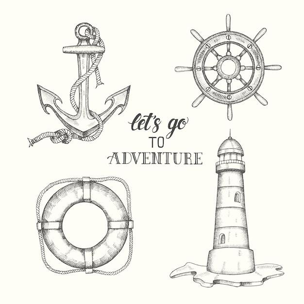 Insieme dell'ancoraggio di vettore di doodle disegnato a mano Vettore Premium