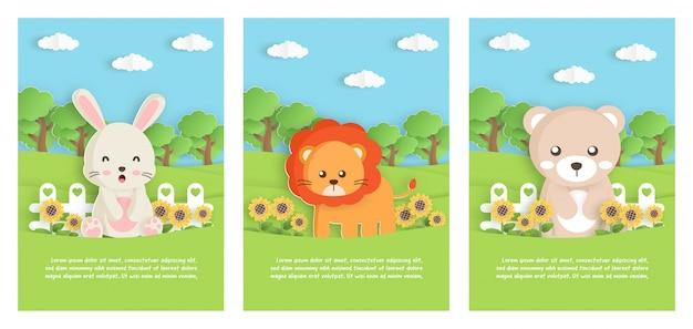 Insieme dell'animale dello zoo con leo, orso e coniglio, in giardino per la carta del modello di compleanno, cartolina. stile di taglio della carta. Vettore Premium
