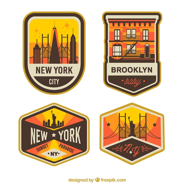Insieme dell'annata dei distintivi di new york city Vettore gratuito