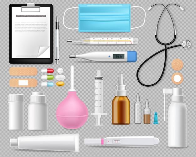 Insieme dell'attrezzatura medica isolato su realistico bianco. maschera di protezione. test, aghi e termometro illustrazioni 3d Vettore gratuito