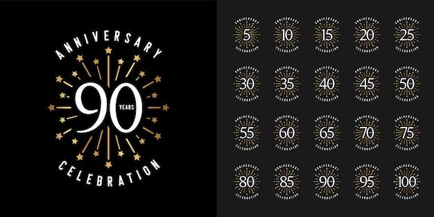 Insieme dell'emblema di celebrazione anniversario anniversario. Vettore Premium