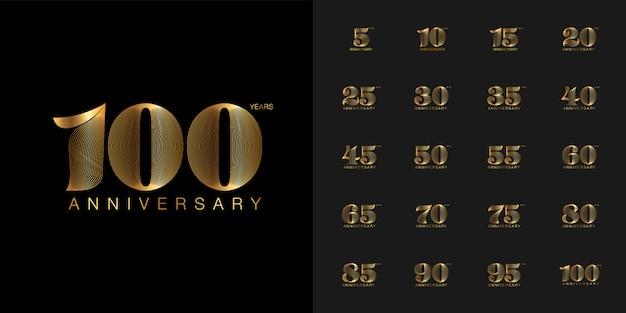 Insieme dell'emblema di celebrazione di anniversario d'oro e d'argento. Vettore Premium