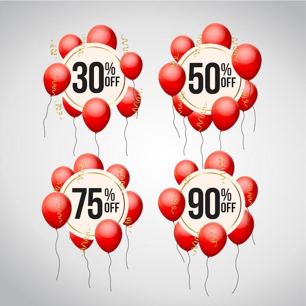 Insieme dell'etichetta di prezzo di offerta di sconto con palloncini Vettore Premium