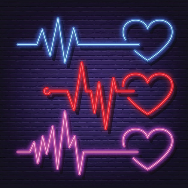 Insieme dell'icona al neon frequenza cardiaca Vettore Premium
