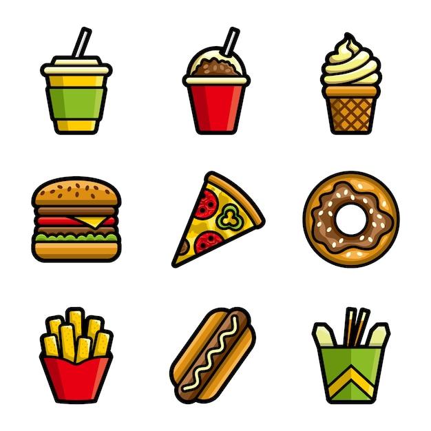Insieme dell'icona colorato vettore degli alimenti a rapida preparazione Vettore Premium