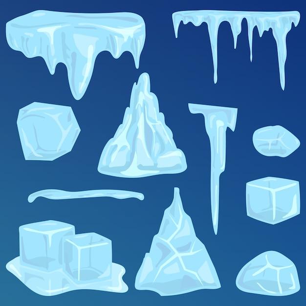 Insieme dell'icona congelata sharp di stile stagionale di calotte polari. illustrazione di vettore della decorazione di inverno dei ghiaccioli e degli elementi dei cumuli di neve. Vettore Premium